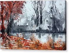 Trees On The Pond Side Acrylic Print by Andre MEHU