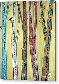Trees On Yellow Acrylic Print by Karla Gerard