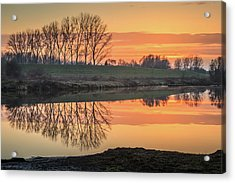 Trees Reflection In The Water At Sunset In Meinerswijk Acrylic Print