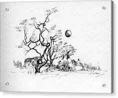 Trees Rocks And A Ball Acrylic Print by Padamvir Singh