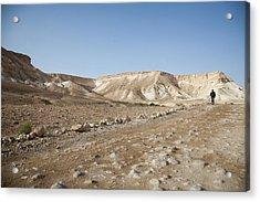 Trekker Alone On The Wild Way Acrylic Print by Yoel Koskas