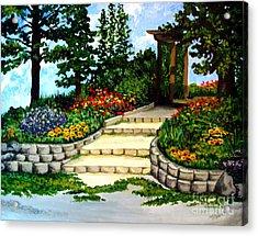 Trellace Gardens Acrylic Print by Elizabeth Robinette Tyndall