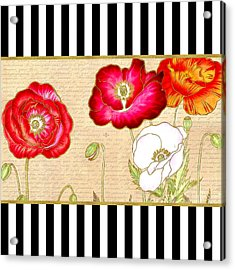 Trendy Red Poppy Floral Black And White Stripes Acrylic Print