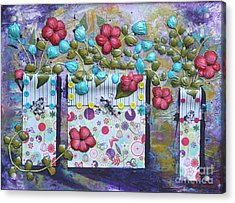 Acrylic Print featuring the mixed media Tres Jarrones De Flor by Terri Thompson