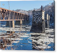 Trestle In Winter Acrylic Print by Laurie Breton