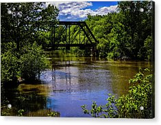 Acrylic Print featuring the photograph Trestle Over River by Mark Myhaver
