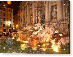 Trevi Fountain At Night Acrylic Print by Jim Kuhlmann