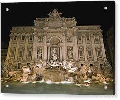 Trevi Fountain At Night Acrylic Print