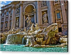 Acrylic Print featuring the photograph Trevi Fountain From Right Side  by Harry Spitz