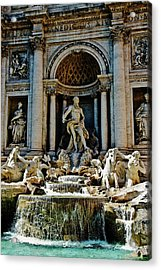 Acrylic Print featuring the photograph Trevi Fountain Vertical  by Harry Spitz