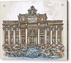 Acrylic Print featuring the painting  Trevi Fountain,rome  by Andrzej Szczerski