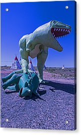 Trex And Triceratops  Acrylic Print