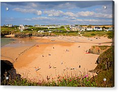 Treyarnon Bay Beach Cornwall England Uk Cornish North  Acrylic Print