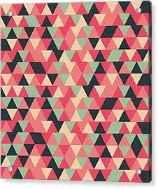 Triangular Geometric Pattern - Warm Colors 13 Acrylic Print