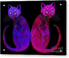 Acrylic Print featuring the digital art Tribal Cats by Nick Gustafson