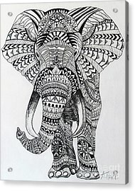 Tribal Elephant Acrylic Print by Ashley Price