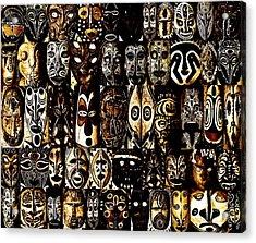 Tribal Masks Of Papua New Guinea Acrylic Print by Per Lidvall