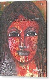 Acrylic Print featuring the mixed media Tribal Woman by Prerna Poojara