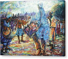 Tribute To The Royal Fathers Acrylic Print by Bankole Abe