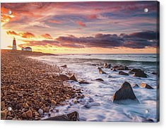 Point Judith Lighthouse - Tribute To Tintoretto's Clouds Acrylic Print