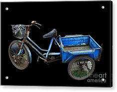Tricycle In Blue Acrylic Print by Ty Lee