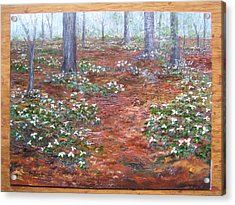 Acrylic Print featuring the painting Trilliums After The Rain by Jan Byington