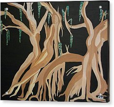 Acrylic Print featuring the painting Trinity   The Banyan Tree by Carolyn Cable