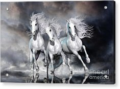 Acrylic Print featuring the digital art Trinity Galloping Horses Blue by Shanina Conway