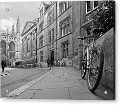 Acrylic Print featuring the photograph Trinity Lane Clare College Great Hall In Black And White by Gill Billington