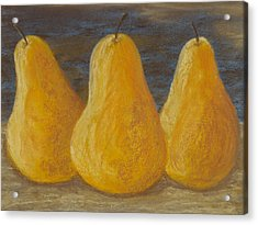 Trio Of Yellow Pears Acrylic Print by Cheryl Albert