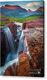 Triple Falls Sunset Acrylic Print by Inge Johnsson