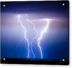 Triple Lightning Acrylic Print by James BO  Insogna