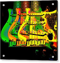 Acrylic Print featuring the photograph Triple Pickguards by Guitar Wacky