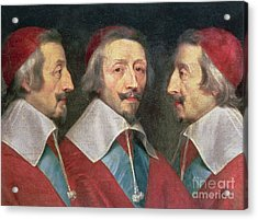 Triple Portrait Of The Head Of Richelieu Acrylic Print by Philippe de Champaigne