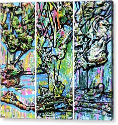 Acrylic Print featuring the painting Triptych Of Three Trees By A Brook by Genevieve Esson