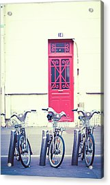 Acrylic Print featuring the photograph Trois - Three Bicycles In Paris by Melanie Alexandra Price