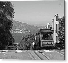 Trolley Descending Into San Francisco Black And White Acrylic Print by Toby McGuire