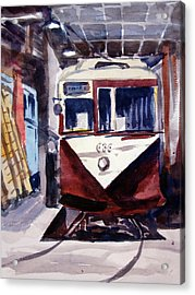 Trolley Maintenance Acrylic Print by Ron Stephens
