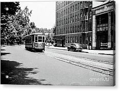 Acrylic Print featuring the photograph Trolley With Packard Building  by Cole Thompson