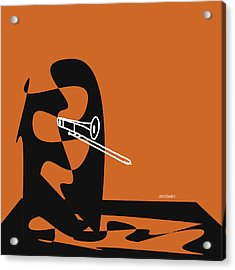 Trombone In Orange Acrylic Print
