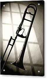 Trombone Silhouette And Window Acrylic Print