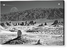 Trona Pinnacles With The Moon Acrylic Print