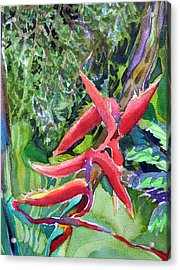 Tropcial Red Flora Acrylic Print by Mindy Newman
