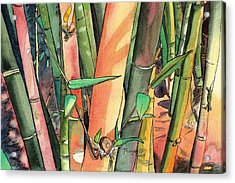 Tropical Bamboo Acrylic Print by Marionette Taboniar