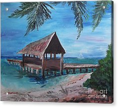 Tropical Boathouse Acrylic Print