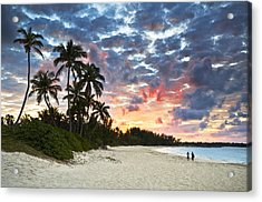 Tropical Caribbean White Sand Beach Paradise At Sunset Acrylic Print by Dave Allen