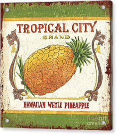 Tropical City Pineapple Acrylic Print by Debbie DeWitt