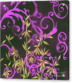 Tropical Floral Leaves Fine Art Painting In Magenta And Black By Megan Duncanson Acrylic Print