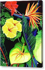 Tropical Flower Arrangement #251 Acrylic Print by Donald k Hall