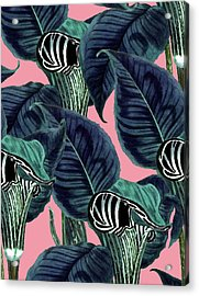 Tropical Flower Pattern Acrylic Print